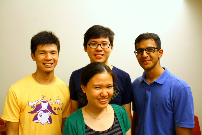 Clockwise from left: Elson Ng, Law Zhe Wen, Varun Soni, Talia Seet