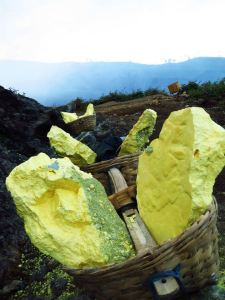 Sulphur extracted from mines at Ijen
