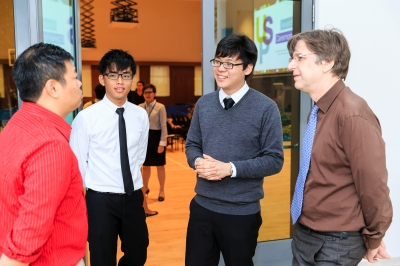 Yan Zhi (second from left) and Zhe Wen (third from left) at the USP Awards Ceremony 2013. Photo courtesy of Lionel Lin