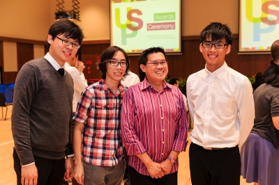 """He's inspiring in so many ways"" - Prof Teo (second from right) with Yan Zhi at the USP Awards Ceremony. Photo courtesy of Lionel Lin"