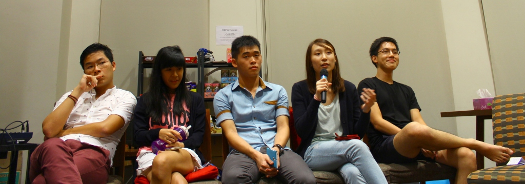 The five candidates running for MC: Seng Chiy, Gloria, Cheng Lei, Ni Min, and Jia Liang.