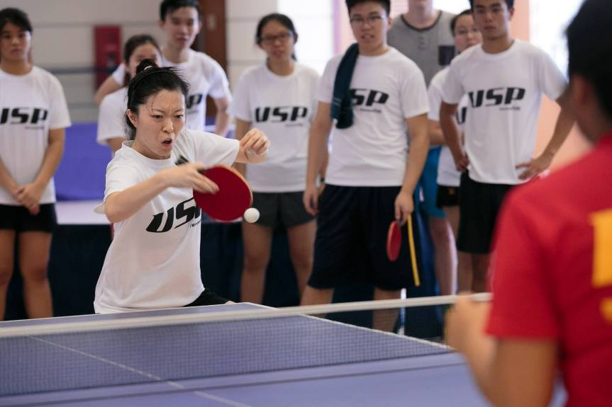 Song Shuang attacking with her backhand